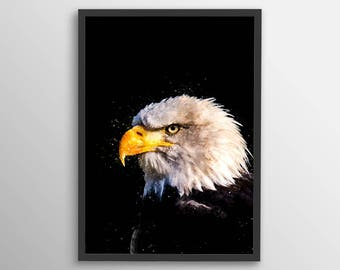 Eagle Watercolor Print, Nature Print, Wall Art