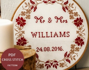 Diy engagement etsy mr and mrs wedding cross stitch pattern do it yourself gift for couple diy wedding sign solutioingenieria Gallery