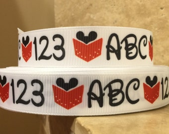 5 YDS Mickey Mouse ABC and 123 Ribbon