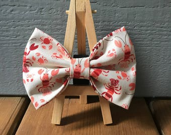 Lobster and Crab Dog Bow Tie, matching flower available
