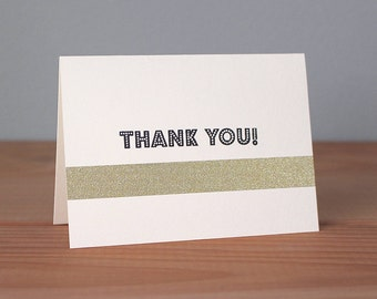 Handmade Thank You Card With Gold Embellishment
