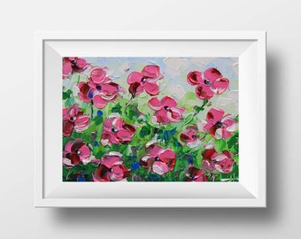 Poppy Print, Floral Art, Flower Artwork, Floral Print, Flower Print, Mother's Day, Romantic Art, Pink Poppies, Floral Painting,Impasto