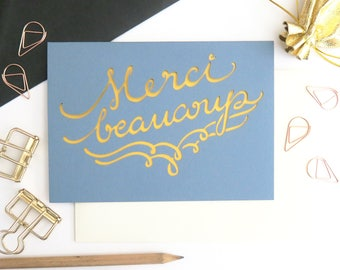 Merci beaucoup card, French thank you card, Gratitude card, Thank you card set, Wedding thanks card set, Wedding thanks card pack