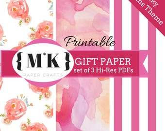 Printable Gift Wrapping Paper /Scrapbooking – Pinky Dream Theme Girly – Set of 3 Hi-Res PDF files – Digital Download