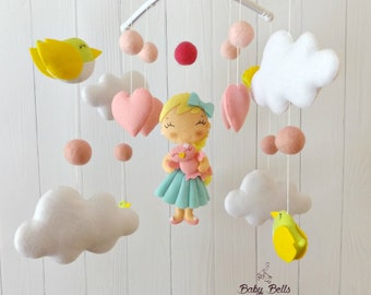 Girl mobile, Cot Mobile, Baby Girl Mobile, Mobile For Crib, Bird Mobile, Baby Mobile, Mobile For Nursery, Crib Felt Cloud Mobile, Handing