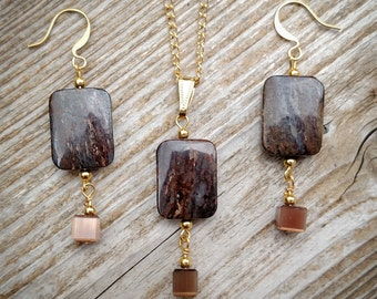 Bronzite and 14k gold plated pendant and earrings