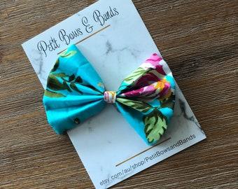 Blue floral fabric bow | fabric bow | fabric hair bow |