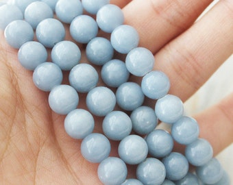 Angelite 8mm Round - AA Quality Full Strand Blue Beads