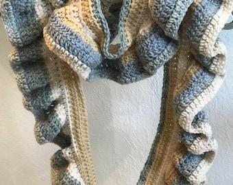 Scarf, Elegant, Ruffle Edge, Crochet, Long, Neckwear, Handmade, Knitwear
