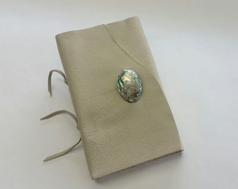 Abalone Journal, Taupe Leather Journal with Abalone Shell, Organic Beach Journal, Beach House Journal, Traveler's Journal, Taupe Notebook