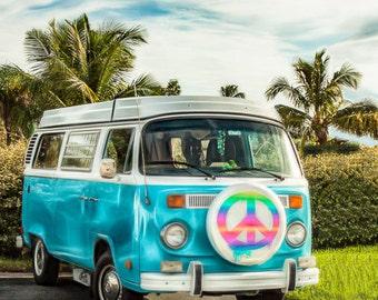 VW Bus Peace Van Groovy Aqua and White Boho - Fine Art Photograph Print Picture