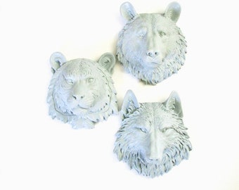Set of 3, ANY COLOR, Small Faux animal head wall mounts, 1 Color Each Animal, Choose 3:  small wolf, tiger, bear, elephant, lion, or zebra