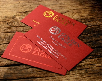 "Luxury business cards, metallic foil print on ""Guardsman Red"" card stock paper"