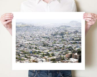San Francisco rooftops photography print, urban Silicon Valley California fine art photo. Large San Francisco cityscape, oversized artwork