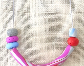 Pink and silver tube handmade polymer clay vegan necklace on 70cm polyester cord with breakaway clasp