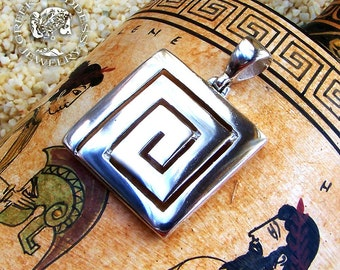 greek key pendant, meander pendant, labyrinth pendant, maze pendant, greek pendant, greek key, greek jewelry, greek, goddess jewelry