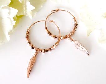 Boho Earrings Rose Gold Hoops Rose Gold Earrings Swarovski Bohemian Earrings Large Hoops Feather Earrings Dangle Earrings Gold Hoops