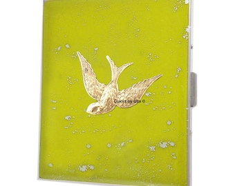 Swooping Swallow Metal Cigarette Case Hand Painted Enamel Yellow with Silver Splash Art Nouveau Inspired