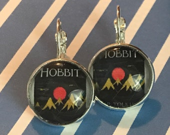 The Hobbit book cover glass cabochon earrings - 16mm