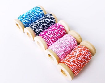 Set of 5 colors Baker's Twine / Orange / Pink / Blue / Black