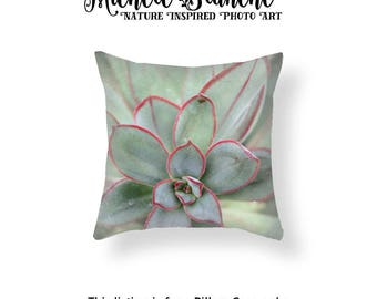 Sedum Photo Pillow, Pastel Green Succulent Pillow, Seafoam Green Nature Toss Pillow, Mint Green Throw Pillow, Sage Green Photo Pillow