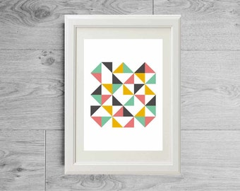 Modern triangles poster - Grey mint coral yellow art print - Minimalist abstract - Geometric room decor- printed on matte paper