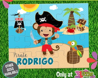 "Pirate Puzzle - Personalized 8 x 10"" Puzzle - Personalized Name Puzzle - Personalized Children Puzzle - Personalized Monkey Pirate Puzzle"