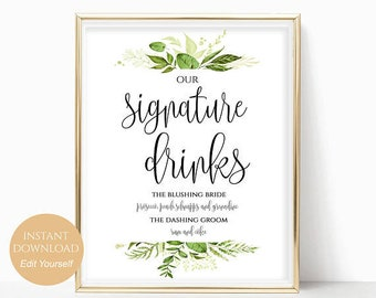 Signature Drinks Printable Signature Drinks Sign Signature Cocktails Bar Sign PDF Instant Download 8x10, 5x7, 4x6 Greenery Wedding Printable