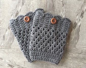 Boot Cuffs Scalloped Edge, Boot Toppers, Leg Warmers, Boot Accessory, Handmade, Boot Socks, Crochet, canada, rustic, canada, warm, grey