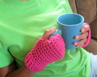 Fingerless gloves/mittens, hand crocheted, medium womens
