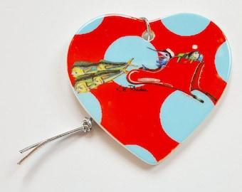 Santa Marlin Sleigh Holiday Christmas ornament heart shaped porcelain ready to hang