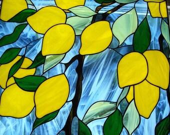 Stained Glass Lemons Picture, Stained Glass Wall Hanging Panel, Lemon Art, Lemon Decor, Suncatcher Lemon Art, Large Stained Glass Panel