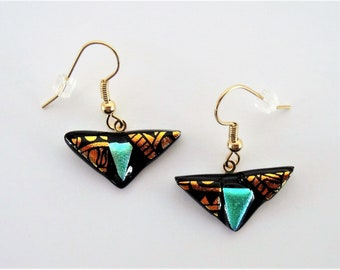 Dichroic Glass Blue and Etched Copper Gold Triangle Dangle Earrings Etched Designs on Blue with Copper Shapes on Dichroic Fused Glass Wires