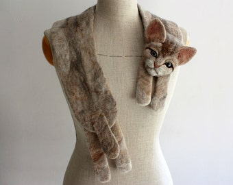 Cat - felted wool animal scarf