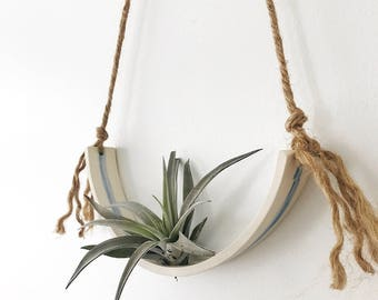 Large Airplant Half Moon Cradle Sling Hanging Planter Display for Air Plant MADE TO ORDER