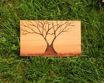 Love tree- heart tree small pyrography on cedar  customize with names made to order sign