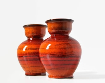 West German art pottery, Jasba Keramik vase, West German pottery vases, 1970's pottery, Fire orange glaze, N 902 10 15, Mid-Century pottery
