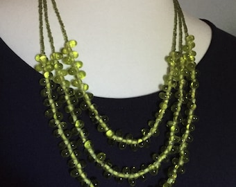 Olive Green Multi Strand Beaded Necklace