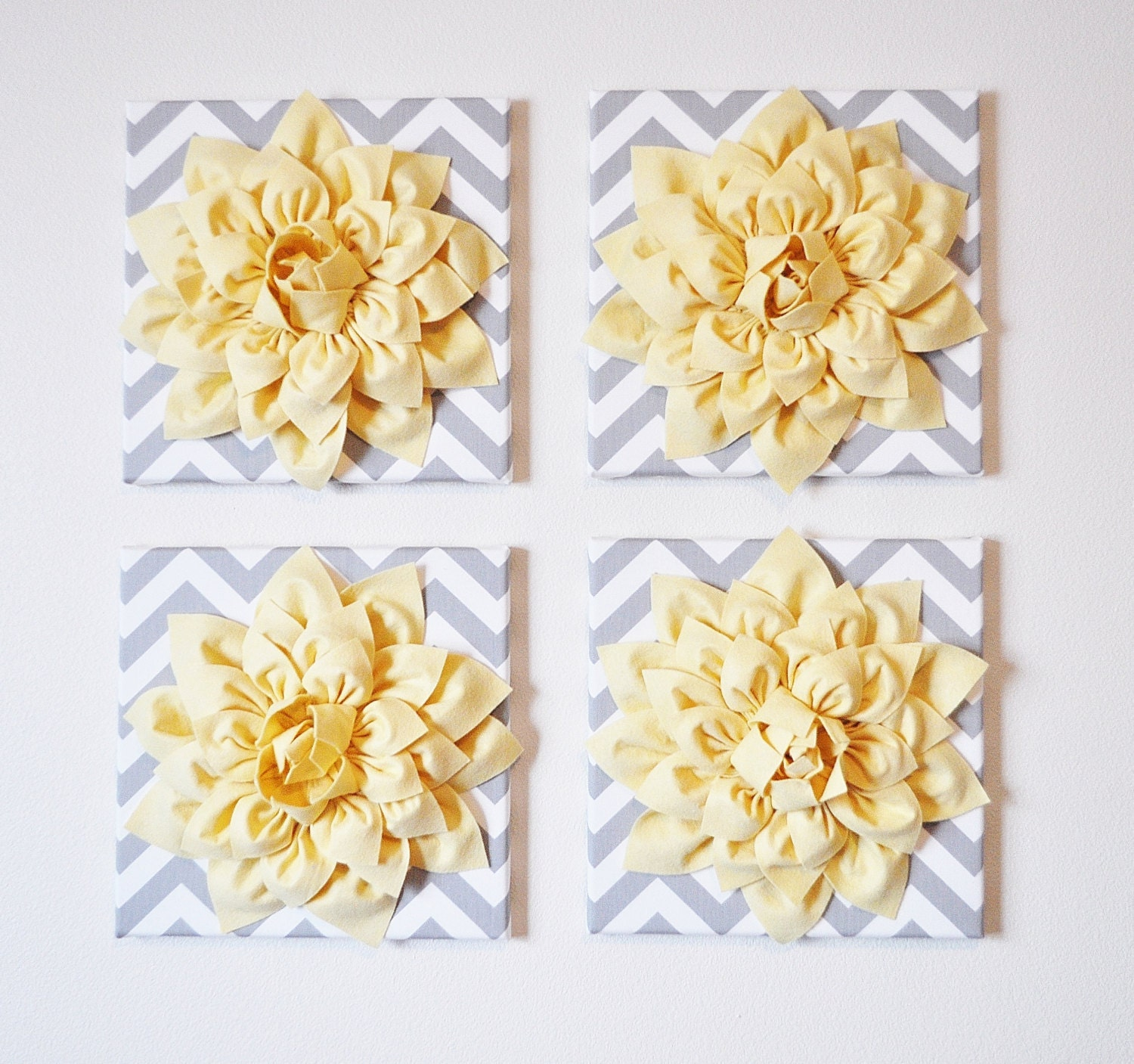 Wall Decor SET OF FOUR Light Yellow Dahlias on Gray and White