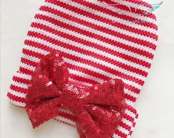 baby first Christmas hat,baby newborn hospital hat,newborn beanie,infant hat,baby gril hat ,baby bow hat newborn photo props