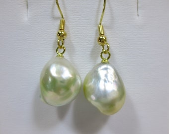 Gold Nugget Shaped Philippine South Sea Pearl Dangling Earrings [item 396]