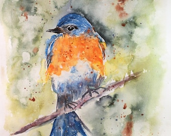 Blue bird Watercolor PRINT, Bird painting, bird home decor, wall hanging, spring home decor