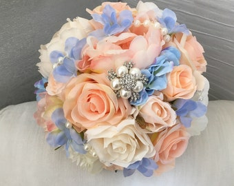 Pale Peach and Pastel Blue peony bridal bouquet with pearl and brooch embelishment wedding bouquet peonies roses ivory champagne