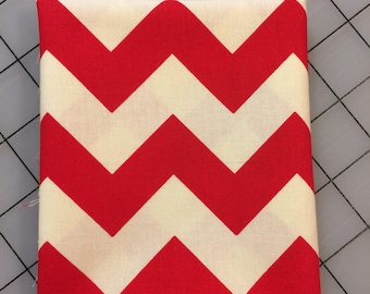 Riley Blake Le Creme  - FAT QUARTER cut of Medium Chevron in Red -  C640-80