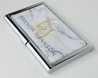 Business card holder etsy personalized business card case marble business card holder for her credit card holder gifts for colourmoves Gallery