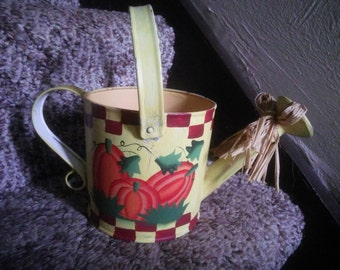 Vintage Watering Can or Sprinkling Can with Pumpkin Decor - Decorative Fall Watering Can