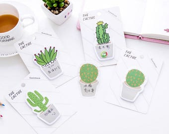 Set of 4, Cactus Sticky Notes, plant sticky notes, Post it, to do, Kawaii Notepad, Scrapbooking, cute memo pad, Stick Marker, Stationery