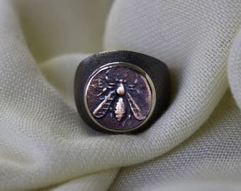 Ancient Coin Ring, Bee Coin, Sterling Silver Ring, Men & Women's Ring, Ancient Ring, Silver coin ring, men ring, women ring