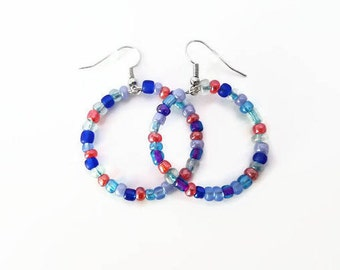 Orange, Blue, Purple and Clear Beaded Hoop Earrings - Silver Plated Wire - Glass Beads - Handmade - Homemade Jewelry