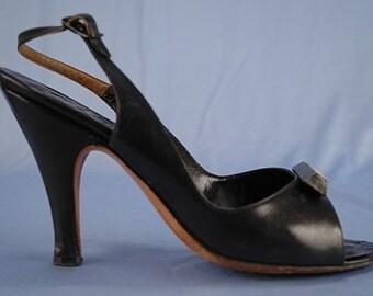 SALE Was 24.95 Vintage 1950's Black Slingback Open Toe High Heel Shoes 6
